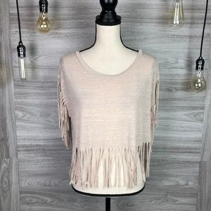 Ten Sixty Sherman Taupe Fringe Top Size Small